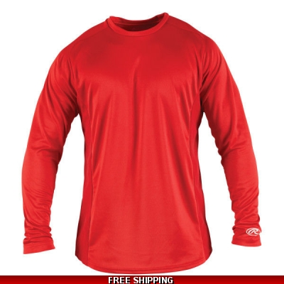Rawlings YOUTH Long Sleeve Sport Shirt YLSBASE youth large RED