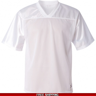 Augusta Mesh White Football Jersey solid top, mesh body ADULT LARGE