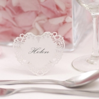 Vintage Romance Free Standing Laser Cut Place Cards - White
