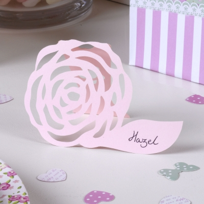 Frills & Spills Free Standing Place Card - Pink