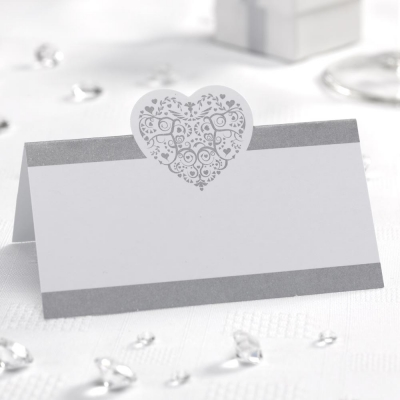 Vintage Romance Place Cards - White & Silver - Pack of 50