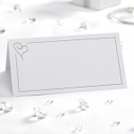 Contemporary Heart Place Cards White & Silver - Pack of 50
