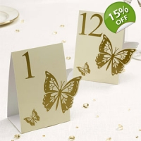 Elegant Butterfly Ivory and Gold Table Numbers - 1 to 12