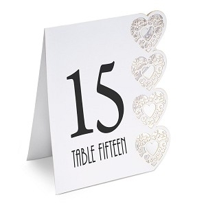 White Elegant Hearts Table Numbers 1 -15