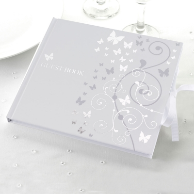 Elegant Butterfly Guest Book- White & Silver