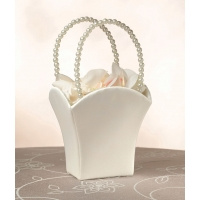 Plain Satin Flower Basket Ivory