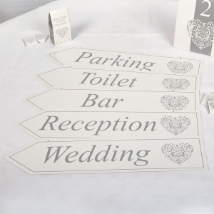 Vintage Romance White and Silver Wedding Signs