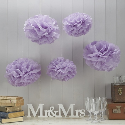 Lilac Pom Pom Tissue Decoration 5pk
