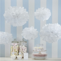 White Pom Pom Tissue Decoration 5pk