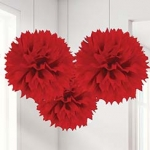 Red Pom Pom Tissue Decoratio..