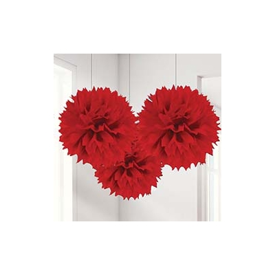 Red Pom Pom Tissue Decoration 3pk
