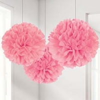 Baby Pink Pom Pom Tissue Decoration 3pk