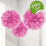 Hot Pink Pom Pom Tissue Decoration 3pk