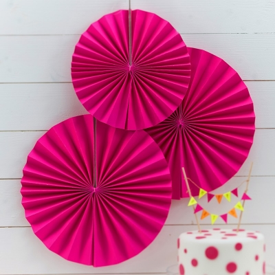 Neon Pink Pinwheel Decorations 3 pk