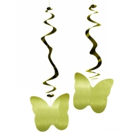 Gold Butterflies Hanging Swirl Decorations