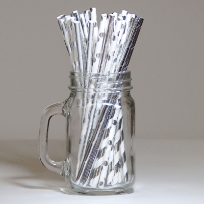 Multi White and Silver Paper Straws