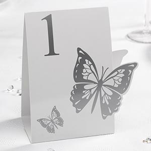 Elegant Butterfly White and Silver Table Numbers - 1 to 12