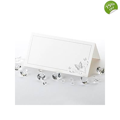 Elegant Butterfly Place Cards - White & Silver - Pack of 50