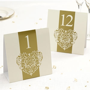 Vintage Romance - Table Numbers - Ivory & Gold 1 to 12
