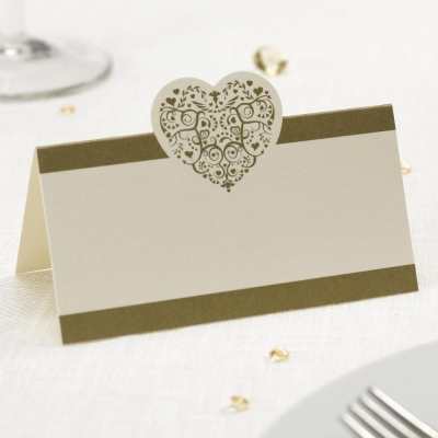 Vintage Romance Place Cards - Ivory & Gold - Pack of 50