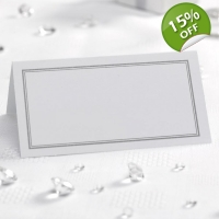 Border Place Cards White & Silver - Pack of 50