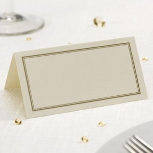 Border Place Cards Ivory & Gold - Pack of 50