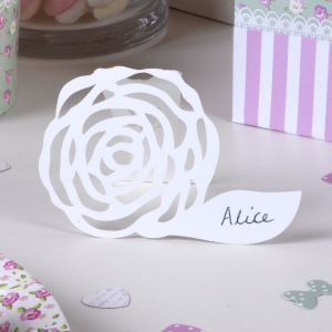 Frills & Spills Free Standing Place Card - White