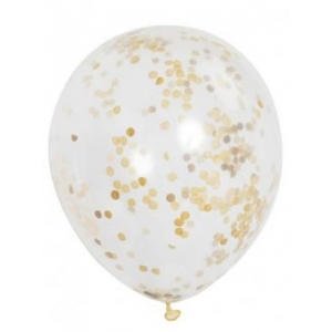 Clear Latex Balloons With Gold Confetti 6pk