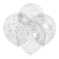 Clear Latex Balloons With Silver ..