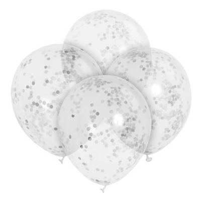 Clear Latex Balloons With Silver Confetti 6pk