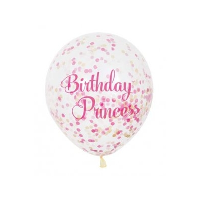 Clear Latex Birthday Princess Balloons With Pink Confetti 6pk