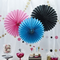 Pink, Black & Blue Wall Fan Decorations