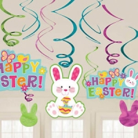 Easter Bunny Hanging Swirl Decorations 12pk