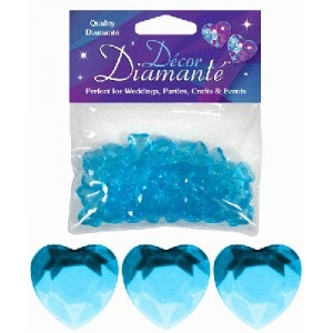 Heart Shaped Diamantes 28g Aqua