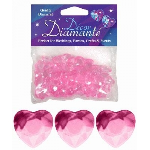 Heart Shaped Diamantes 28g Pink