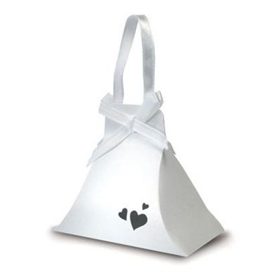 White Pearl Heart Handbag Favour Boxes