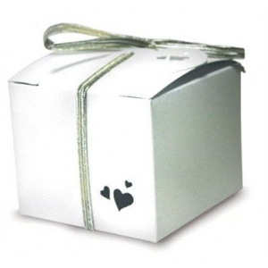 White Pearl Heart Cube Favour Boxes - Pack of 5