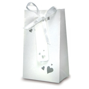 White Pearl Heart Gift Bag Style Favour Boxes - Pack of 5