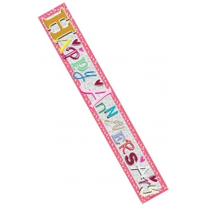 Pink Happy Anniversary 9ft Banner