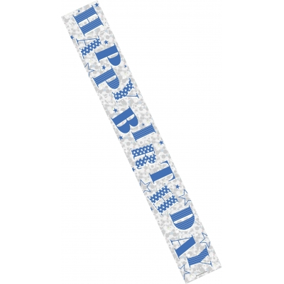 Blue Happy Birthday 9ft Banner
