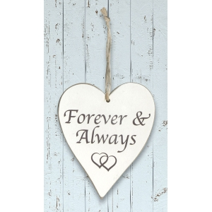 Forever & Always Whitewash Wooden Heart