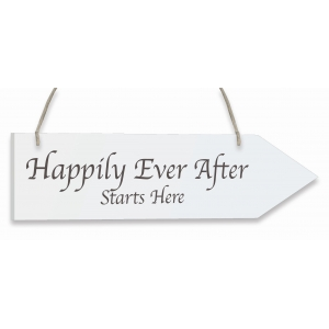 Whitewash Wooden Arrow - Happily Ever After