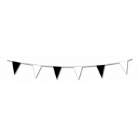 Black and White Pennant Plastic Bunting