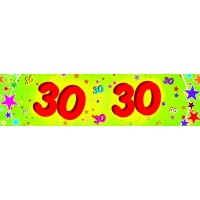 30th Red and Green Paper Banner with Multicoloured Stars