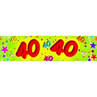 40th Red and Green Paper Banner with Multicoloured Stars C..