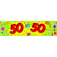 50th Red and Green Paper Banner with Multicoloured Stars C..