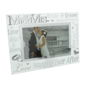 Mr & Mrs Glass Wedding Frame