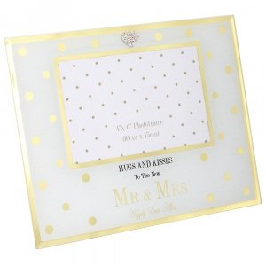 Gold Dots Mr & Mrs Wedding Photo Frame