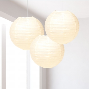 Ivory Paper Lantern Decoration - Pack of 3