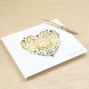 Vintage Romance Heart Guest Book- Ivory & Gold